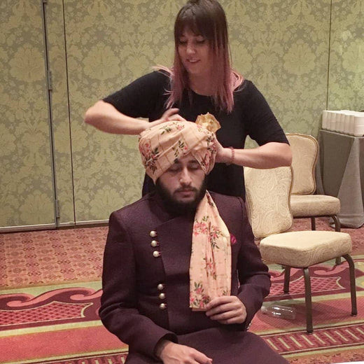 turban tying for groom and bridal party