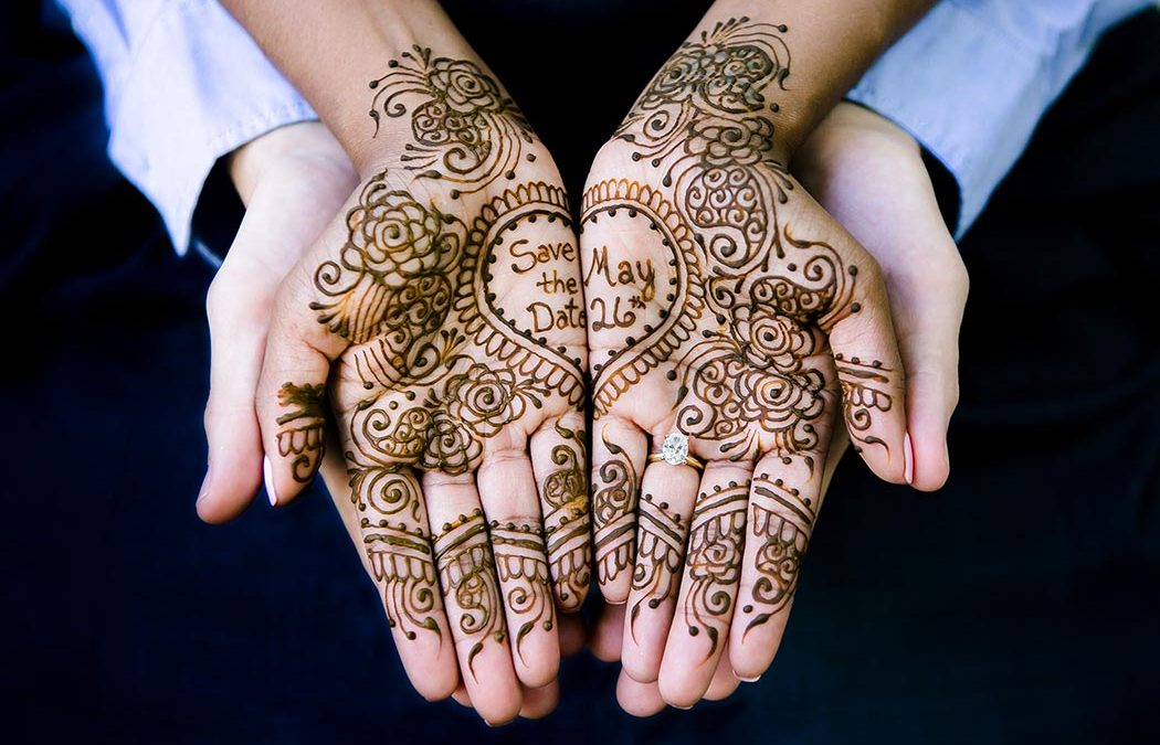 henna on bride to be for save the date wedding invites