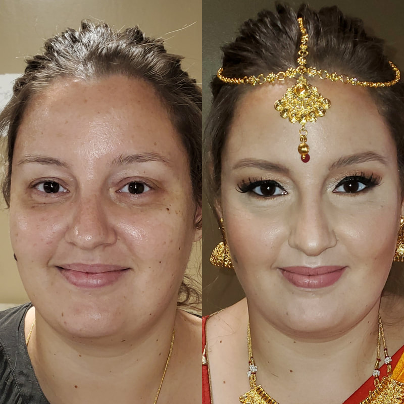 before and after bridal makeup from bhavii brides
